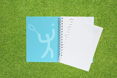 Book with Sport tennis icon on grass background