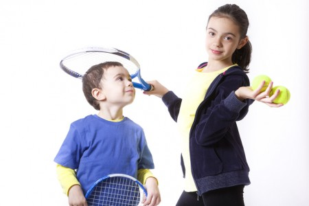 Children with tennis racket